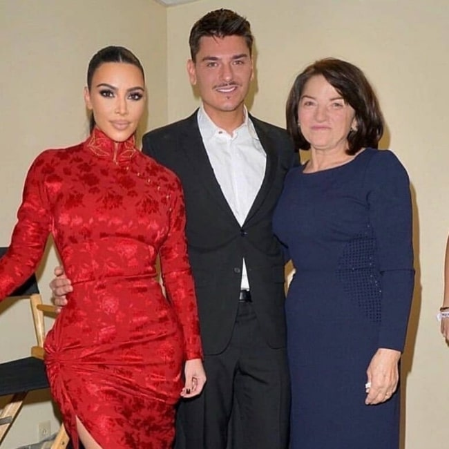 Mario Dedivanovic as seen while posing for a picture along with his mother (Right) and Kim Kardashian West in December 2019