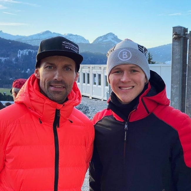 Maximilian Günther (Right) as seen while posing for a picture along with Sven Hannawald in Oberstdorf, Germany in December 2019