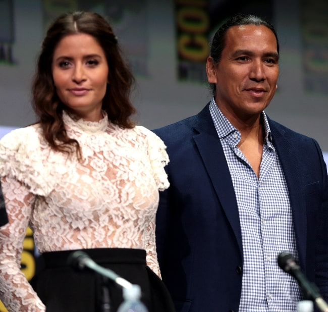 Mercedes Mason and Michael Greyeyes speaking at the 2017 San Diego Comic Con International, for 'Fear the Walking Dead', at the San Diego Convention Center in San Diego, California