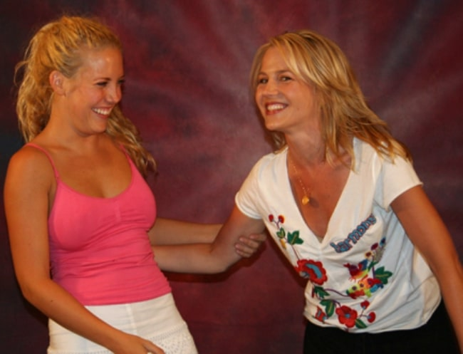 Mercedes McNab (Left) and Julie Benz at the Booster Bash in October 2005
