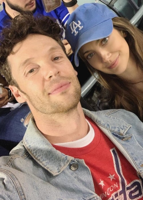 Mia Serafino as seen in a selfie taken with her beau Ryan Watkinson at a baseball game October 2019
