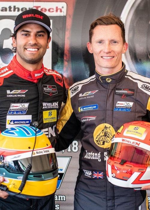 Mike Conway and fellow professional racing driver Felipe Nasr, as seen in June 2019