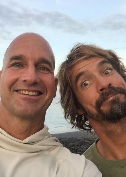 Mike Stewart and fellow Bodyboarding World Champion Guilherme Tamega, in an Instagram selfie from April 2016