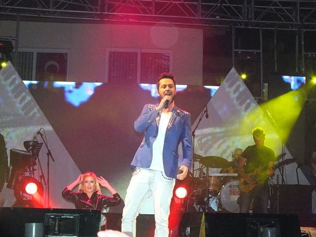 Murat Boz onstage during a concert in Silifke, Turkey in 2012