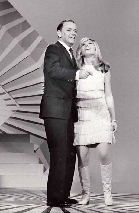 Nancy Sinatra and Frank Sinatra performing on the 1966 television special 'Frank Sinatra A Man and His Music Part II'