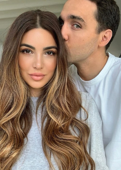 Negin Mirsalehi as seen in a selfie taken with her beau in Maurits Stibbe in February 2020