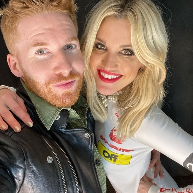 Neil Jones as seen in a selfie taken with presenter and host Ashley Roberts in London, United Kingdom in February 2020