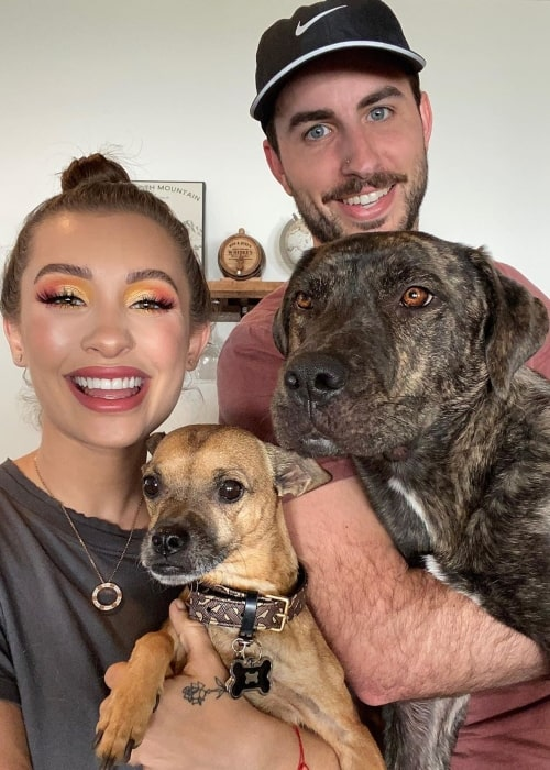 Nicol Concilio as seen in a picture taken with her boyfriend Riley Anderson and her dogs Moe Concilio and Juno in Sun Valley, Idaho in March 2020