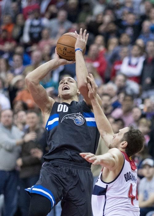 Orlando Magic Aaron Gordon misses the final shot of the game against Washington Wizards Bojan Bogdanovic on March 5, 2017, at the Verizon Center in Washington, D.C