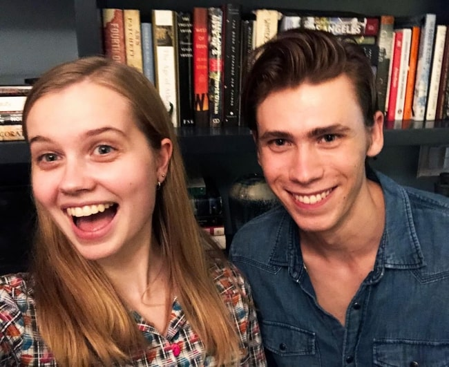 Owen Teague in a selfie alongside Angourie Rice in June 2019