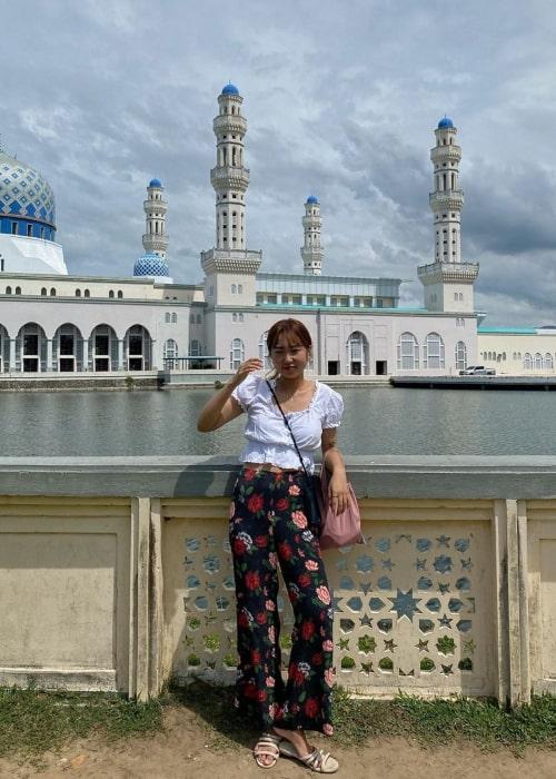 Park Min-ji as seen in a picture taken in front of Masjid Bandaraya Kota Kinabalu in Malaysia in November 2019