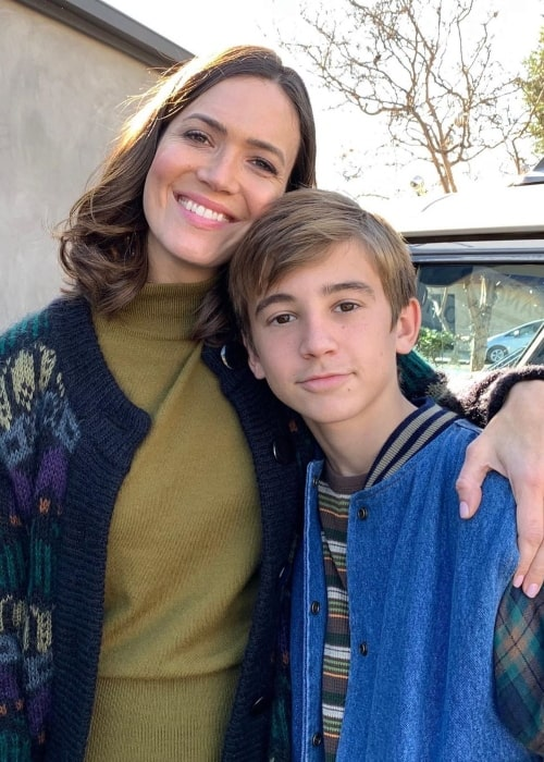 Parker Bates as seen in a picture taken with his This Is Us on-screen mother actress Mandy Moore at Paramount Studios in February 2020