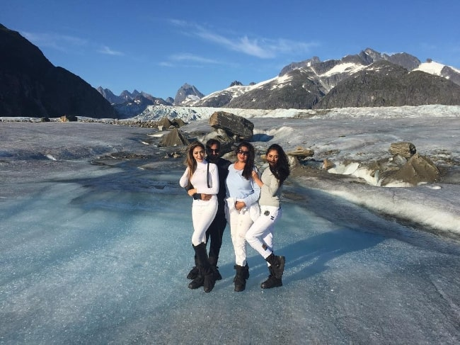 Parvati Melton (Corner Left) as seen while posing for a scenic picture alongside her family members at Mendenhall Glacier located in Coast Range, Juneau, Alaska in August 2017