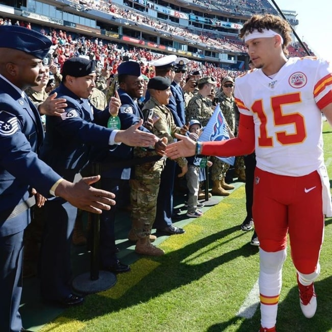 Patrick Mahomes II as seen in a picture taken as he gives Low Five's to Veterans on Veteran Day in November 2019