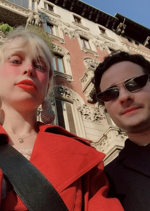 Petite Meller as seen while taking a selfie with Manuel Sinopoli in Milan, Italy in February 2019