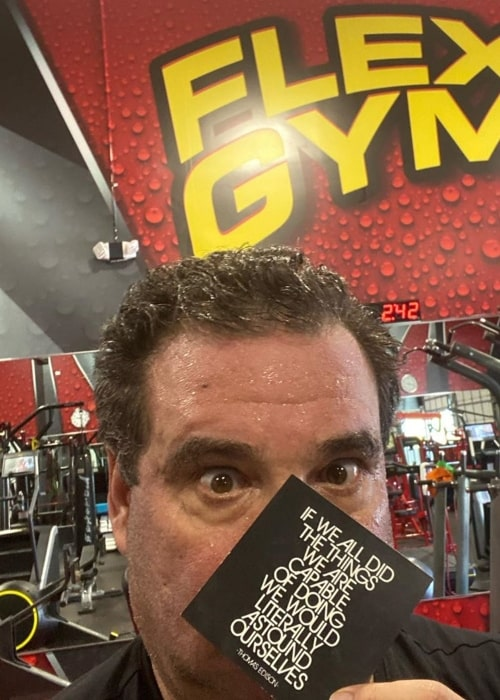 Phil Swift as seen in a selfie taken while he was working out at the Flex Gym in February 2020
