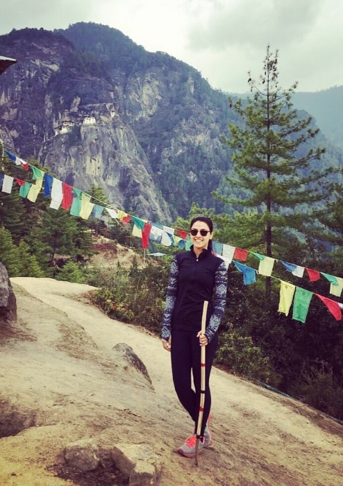 Rakhee Kapoor Tandon as seen while posing for the camera during her trek to Taktsang Monastery (a.k.a. Tiger Nest Monastery) in Bhutan in May 2016