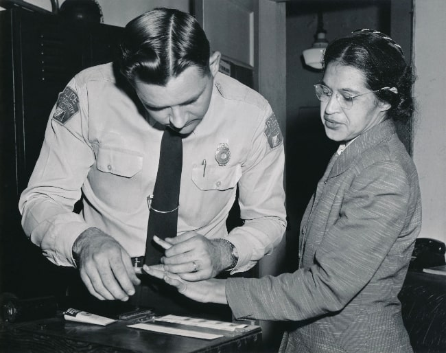 Rosa Parks as seen while being fingerprinted on February 22, 1956, by Lieutenant D.H. Lackey as one of the people indicted as leaders of the Montgomery bus boycott