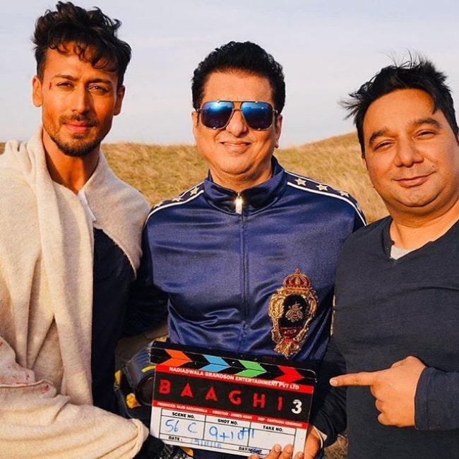 Sajid Nadiadwala on the sets of Baaghi 3 in 2019.