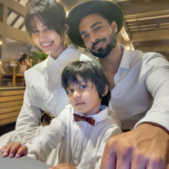 Salman seen with his wife and son Hamdan in February 2020