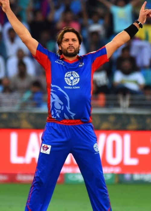 Shahid Afridi during a PSL match in March 2018