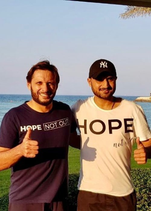 Shahid Afridi with Indian Cricketer Harbhajan Singh, as seen in October 2017