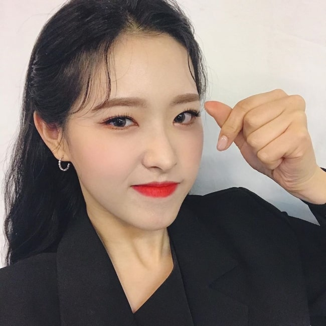 Son Hye-joo as seen while posing for a picture in March 2020