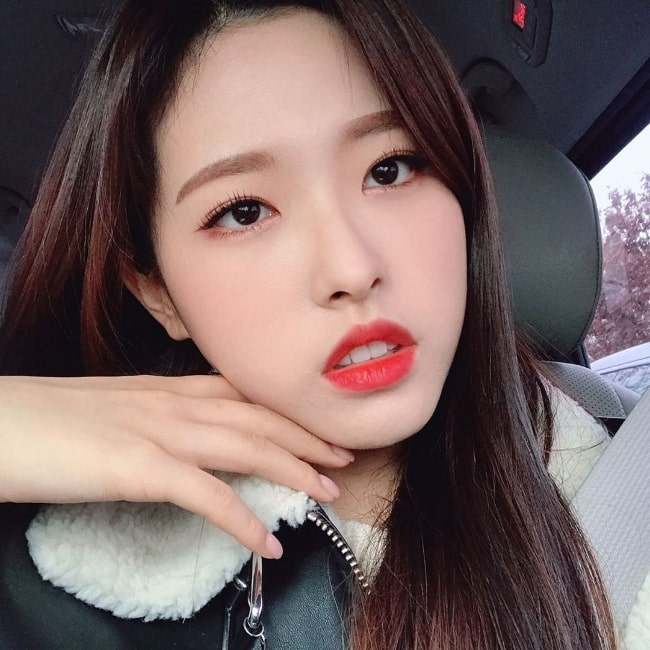 Son Hye-joo as seen while taking a car selfie in February 2020