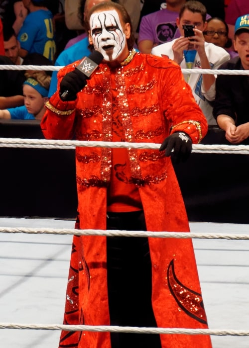 Sting as seen in a picture taken while he delivered a promo at a WWE Raw event on March 30, 2015