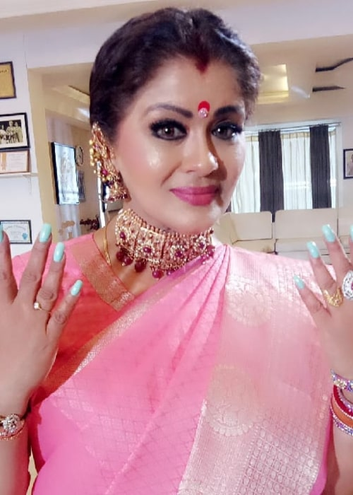 Sudha Chandran on the sets of a TV series in December 2019