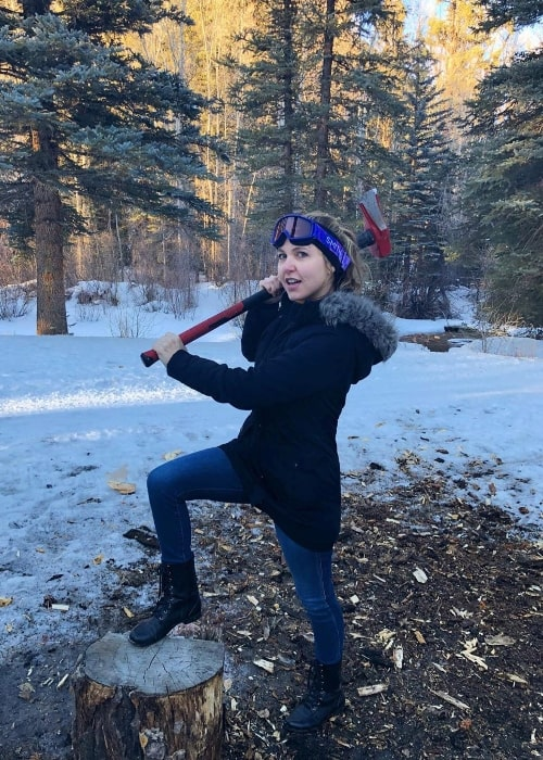 Taylor Tomlinson as seen while posing for a picture in Aspen, Pitkin County, Colorado in February 2020