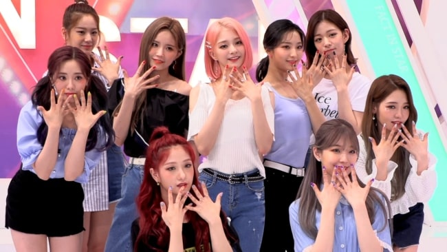 The Korean girl group Fromis_9 as seen in a picture taken on June 11, 2019