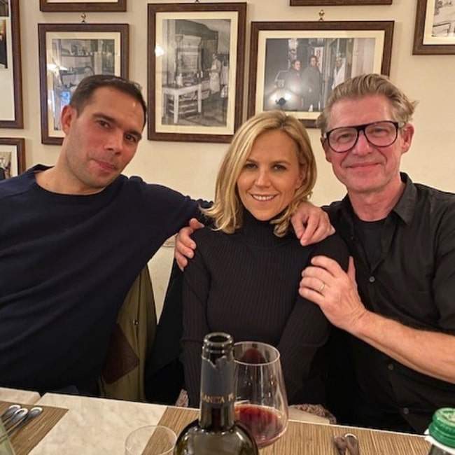 Tory Burch as seen while posing for a picture alongside Mikael Jansson (Right) and Benjamin Bruno at Casa del Brodo dal Dottore