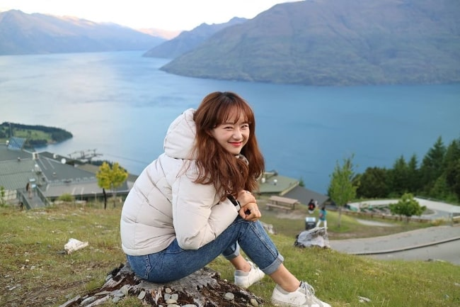 Won Jin-ah as seen while posing for a picture in Queenstown, New Zealand in December 2019
