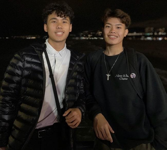 Aaron See (Right) and Kevin Vilay at Santa Monica Pier in Santa Monica, California in December 2019