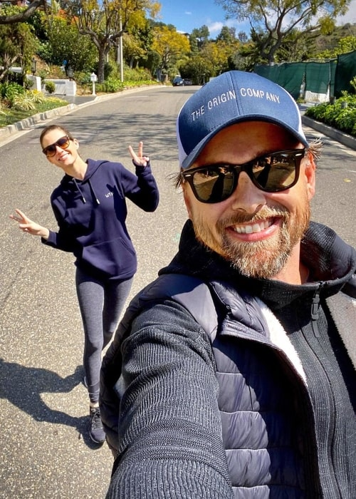 Amanda Hearst as seen in a selfie taken with her husband Joachim Rønning in Los Angeles, California in March 2020