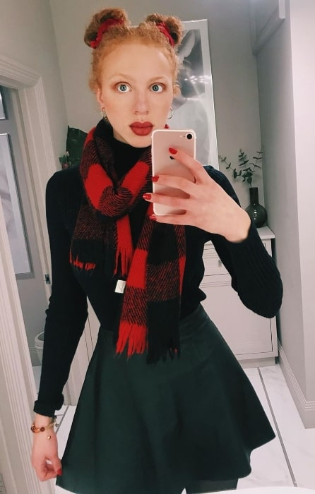 Anna Ermakowa as seen while taking a mirror selfie in London, England in March 2020