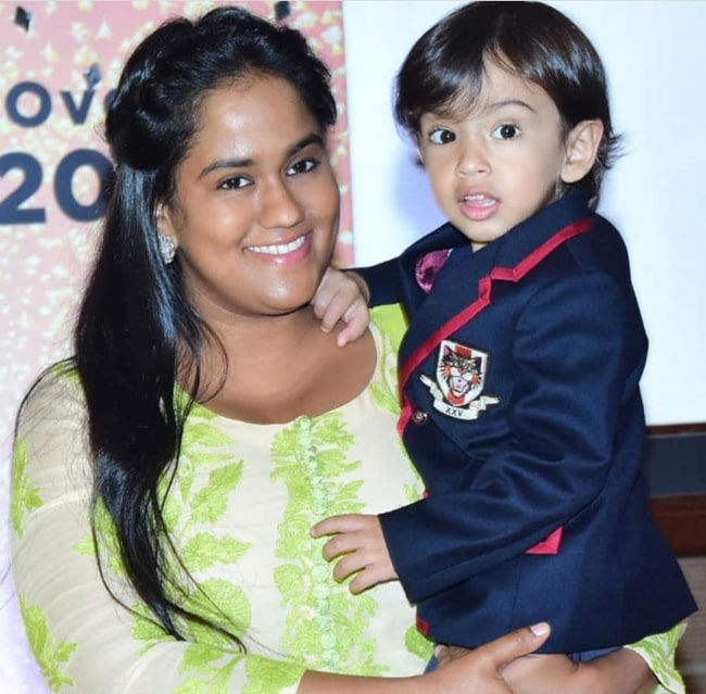 Arpita Khan with her son in August 2018
