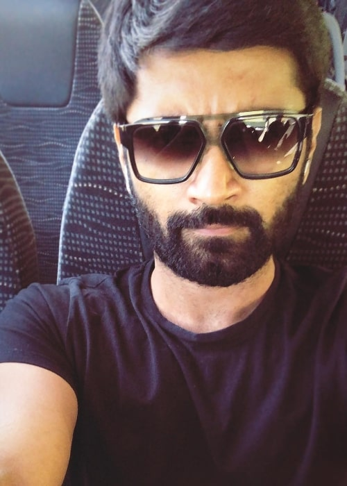 Atharvaa as seen while clicking a selfie in April 2019