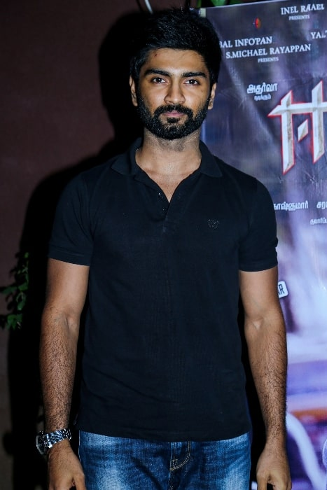 Atharvaa pictured at Eetti Success Meet in December 2015