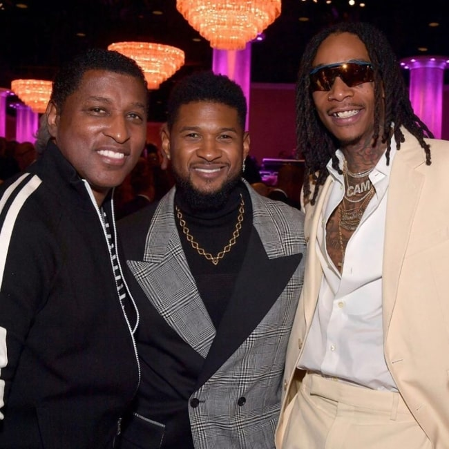 Babyface as seen in a picture taken with fellow music artists Usher and Wiz Khalifa in January 2020