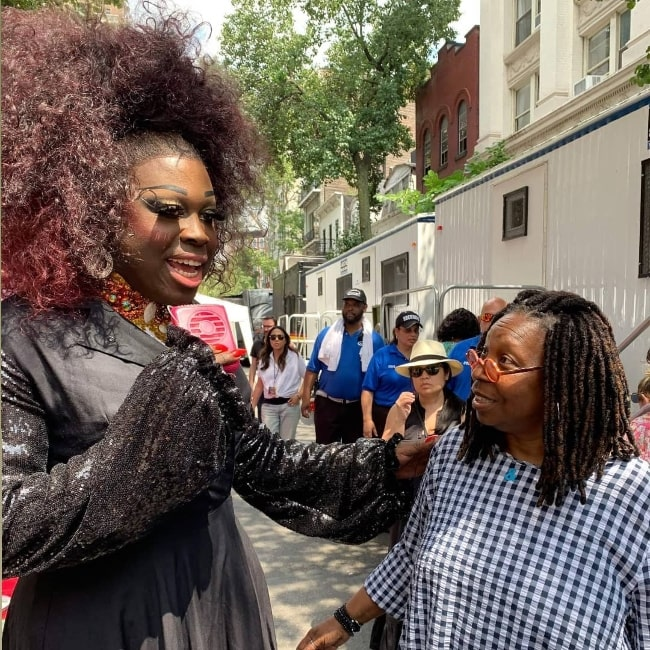 Bob the Drag Queen (Left) as seen while talking to Whoopi Goldberg at the 50th anniversary of The Stonewall Riots