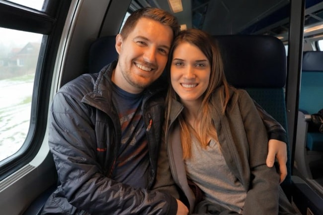 Brady Bluhm and wife Abbie Bluhm while enjoying their time in Switzerland in February 2015