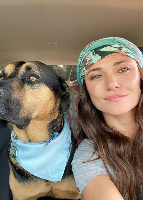Briana Evigan with her pet dog, as seen in January 2020