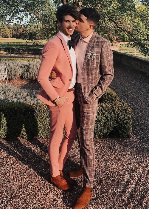 Daniel Preda (Right) posing for a picture alongside Joey Graceffa at Iscoyd Park in Wales, United Kingdom in May 2019