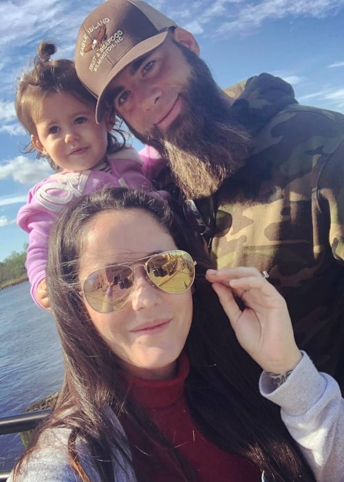 David Eason as seen in a selfie taken with his wife Jenelle Evans and daughter in October 2018 in Wilmington, North Carolina