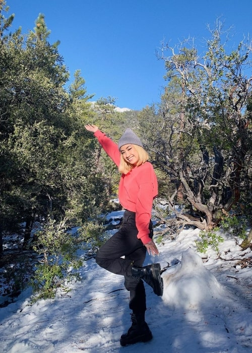Dawn Morante as seen while posing for a picture in Idyllwild, California in January 2020