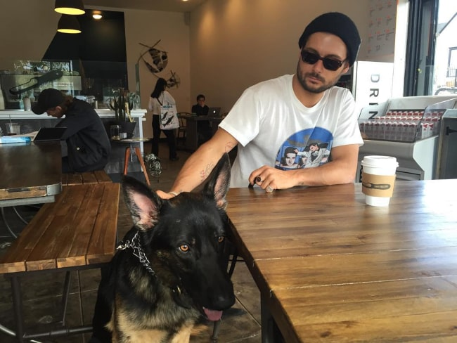 Dylan Rieder with his pet dog, as seen in November 2015