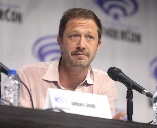 Ebon Moss-Bachrach as seen while speaking at the 2019 WonderCon, for 'NOS4A2', at the Anaheim Convention Center in Anaheim, California