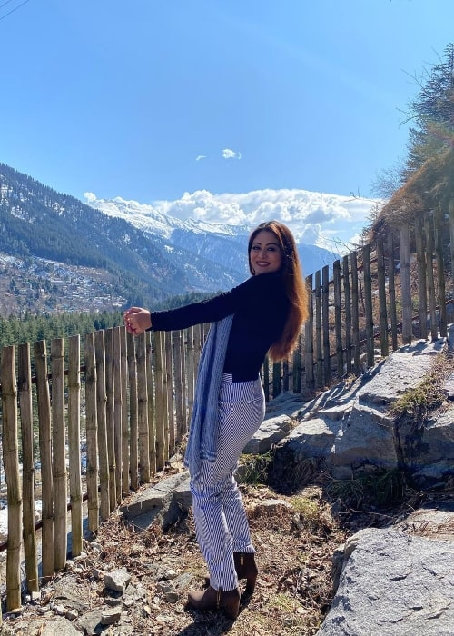 Falaq Naaz seen while posing for a picture in Manali, Himachal Pradesh, India in February 2020